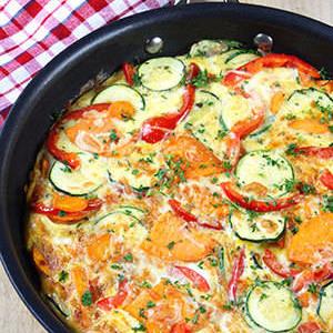 Zucchini, Red Pepper, and Sweet Potato Frittata
