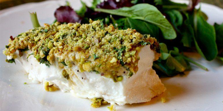 Pistachio-Crusted Halibut