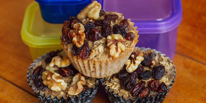 Baked Oatmeal Cups with Raisins and Walnuts